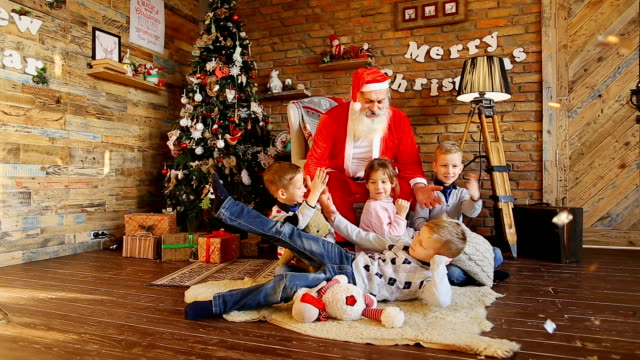 Kids from school frolicking with Santa video