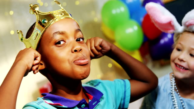 Kids having fun during birthday party 4k video