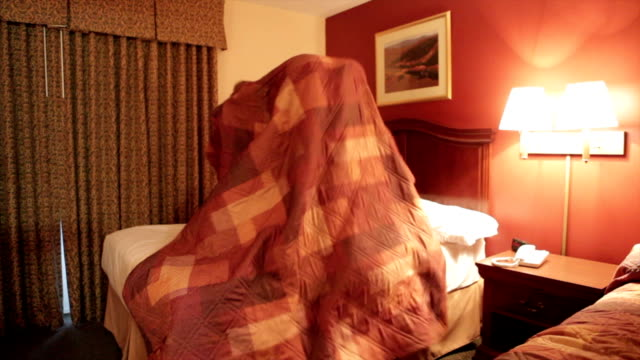 Kids Jumping on Hotel bed video