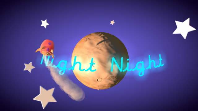 Kids 'Night Night' themed credit title with rocket around the moon video