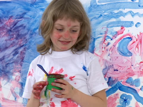 Kids playing - painting video