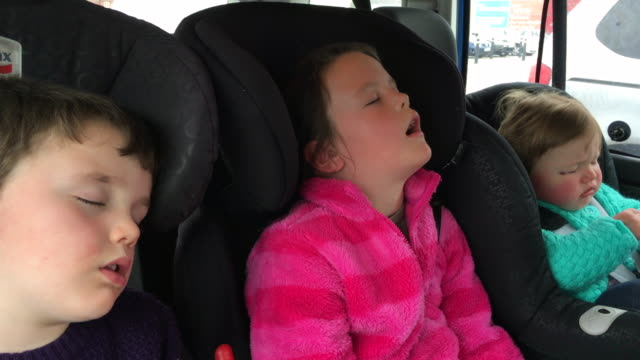 Kids sleeping in the back of a car after a long journey video