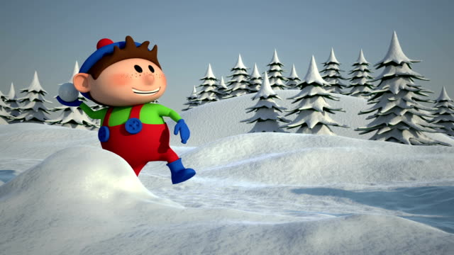 kids snowball fight video