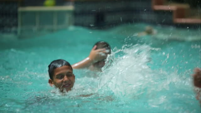 Kids splashing water in a pool video