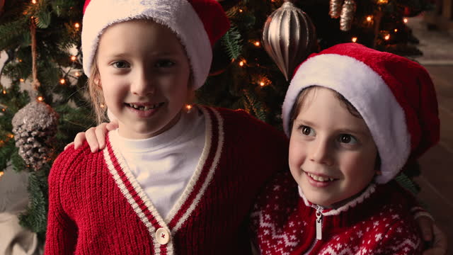 子供たちはクリスマス、ウェブカメラビューにビデオコールで親戚と話します - 兄弟姉妹点の映像素材/bロール