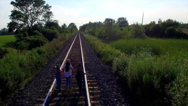Kids Walking On Train Tracks video