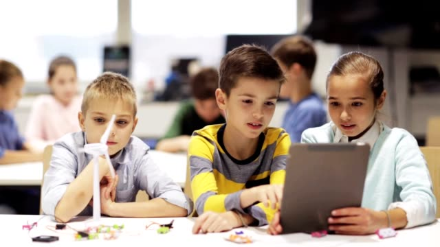 kids with tablet pc programming at robotics school - classroom stock videos and b-roll footage