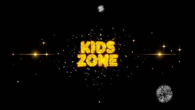 kids zone text avslöjar på glitter gyllene partiklar fyrverkeri. - logotyp bildbanksvideor och videomaterial från bakom kulisserna