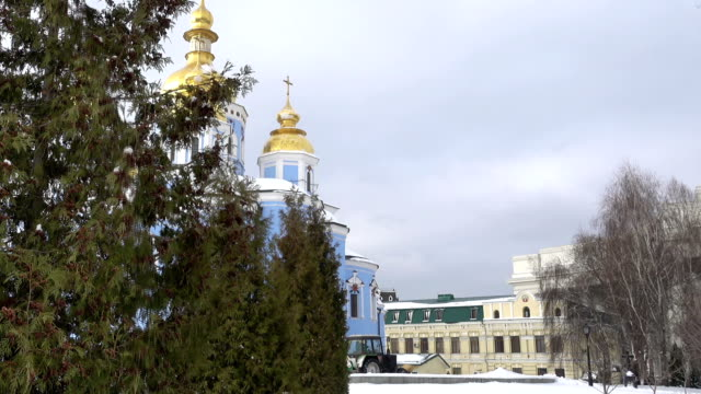 Kiev St. Michael's Golden-Domed Cathedral in Winter. video