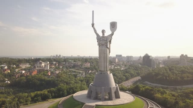 Kiev, Ukraine : a monument to th Motherland in Kiev.Historical sights of Ukraine. Release Drone view 4K Departure from the Monument of the Motherland mother in Kiev, Ukraine, the