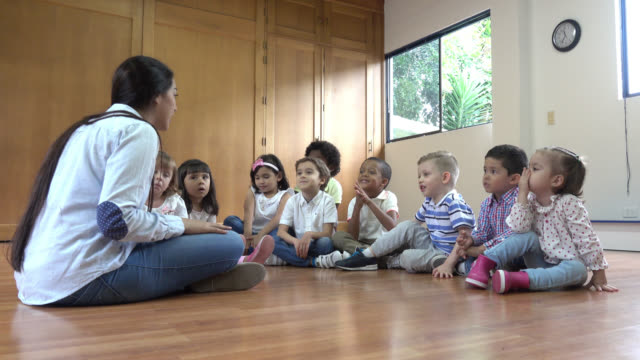 Kindergarten teacher sitting on the floor with her class discussing a book video