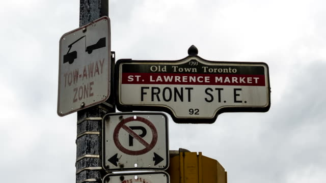 King Street East Sign Time Lapse sequence in Toronto east stock videos & royalty-free footage
