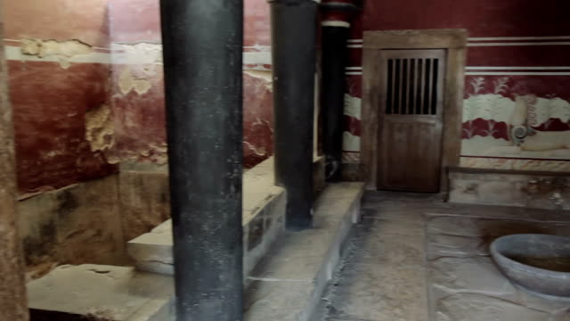 King's chamber of  Knossos palace, Crete, Greece video