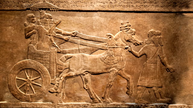 King's hunt. Relief from Palace of Assurbanipal in Nineveh, Assyria video