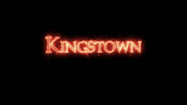 kingstown written with fire. loop - kingstown video stock e b–roll