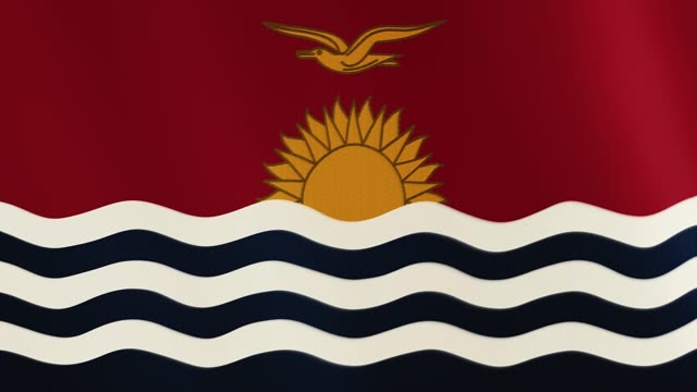 Kiribati flag waving animation. Full Screen. Symbol of the country video