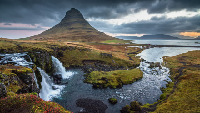 Kirkjufell Mountain and Waterfall in Iceland Landcape video