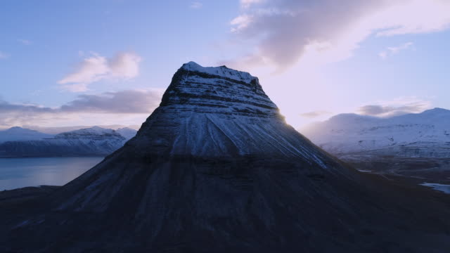 Kirkjufell mountain in winter, Iceland video