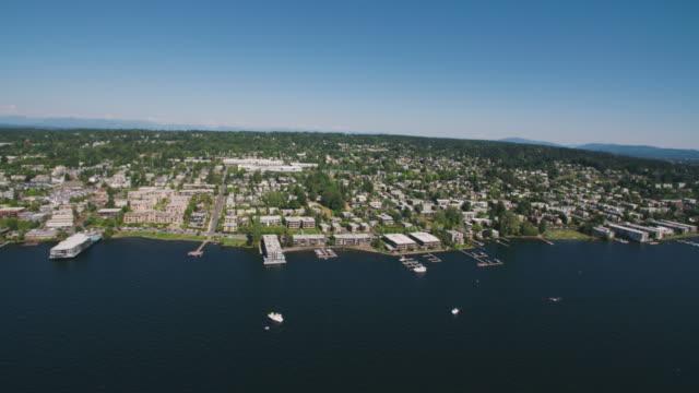 Kirkland Washington Beautiful Pacific Northwest City - Aerial Panning Shot - Summer Day