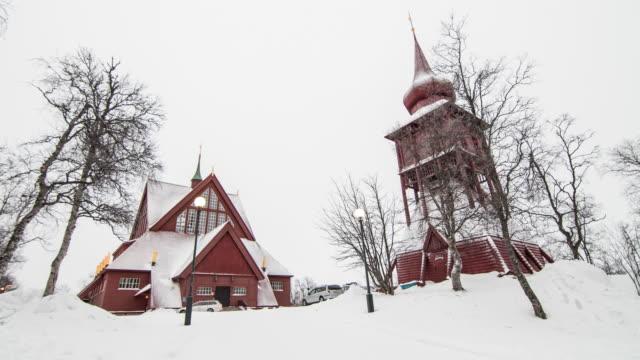 kiruna kyrka med snö på vintern i kiruna, sverige - norrbotten bildbanksvideor och videomaterial från bakom kulisserna