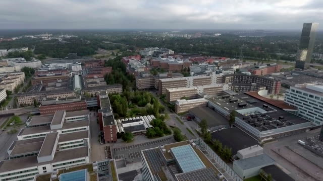 Kista Stockholm Aerial Aerial footage over Kista Stockholm. Kista is the largest corporate area in Sweden, located in the North of Stockholm. office park stock videos & royalty-free footage