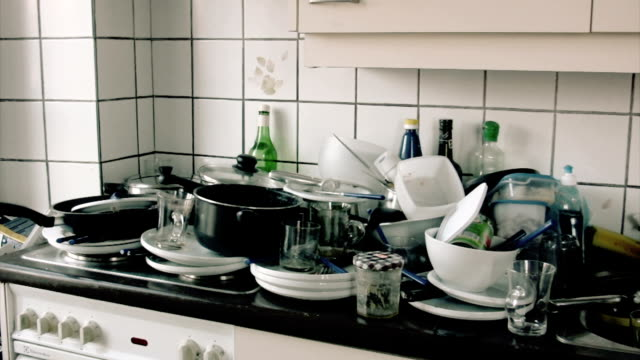kitchen and dirty dishes - kitchen stok videoları ve detay görüntü çekimi