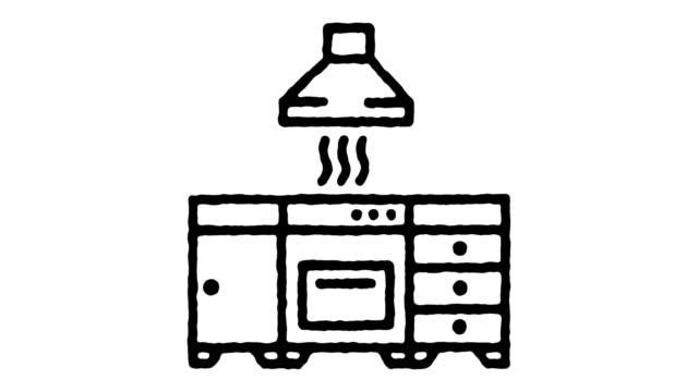 küchengeräte doodle line icon animation - waschmaschine wand stock-videos und b-roll-filmmaterial
