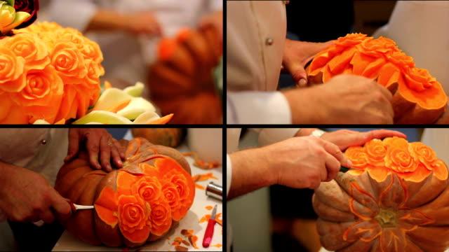 cucina artista creano rose con zucca - zucca legenaria video stock e b–roll