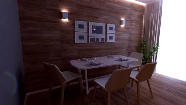 küche rendering 3d graphics innenarchitektur verschwommen loft - wohngebäude innenansicht stock-videos und b-roll-filmmaterial