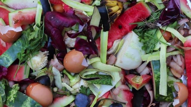 köksrester, frukt och grönsaker: skalar av potatis, lök, ägg, paprika - food waste bildbanksvideor och videomaterial från bakom kulisserna