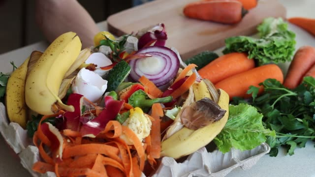Kitchen scraps in recycling bin at home Organic kitchen waste gathered for composting leftovers stock videos & royalty-free footage
