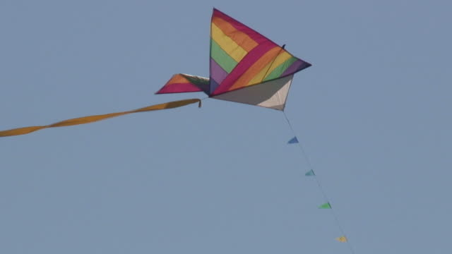 Kite 14 - HD 1080/60i Close view on the toy kite in the air hovering stock videos & royalty-free footage