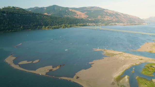 Kiteboarding Columbia River Washington Oregon State Boundary Hood River Bridge video