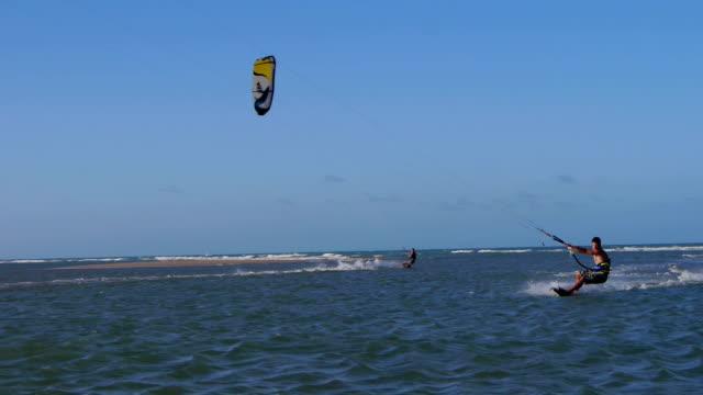 Kiteborder jumping and spinning video