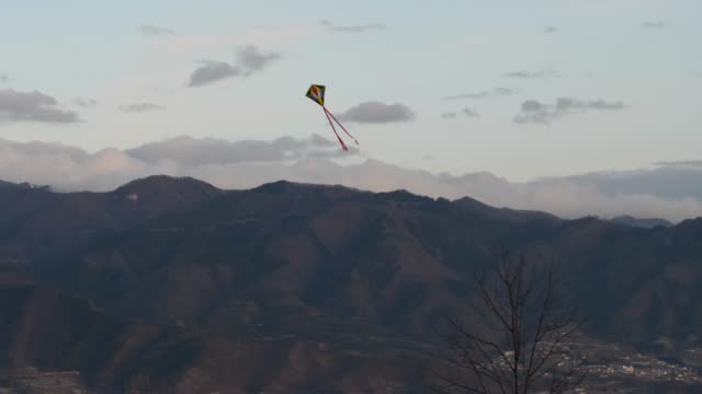 Kites flying above the mountains in the summer