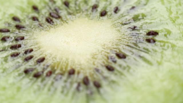 Kiwi fruit rotate on white background video