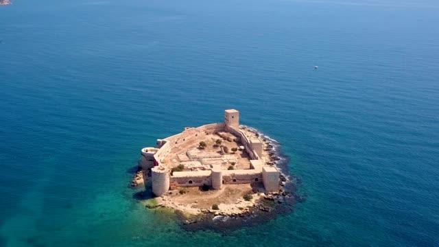 Kiz Kalesi - Korykos Aerial View Kiz Kalesi - Korykos Aerial View fort stock videos & royalty-free footage