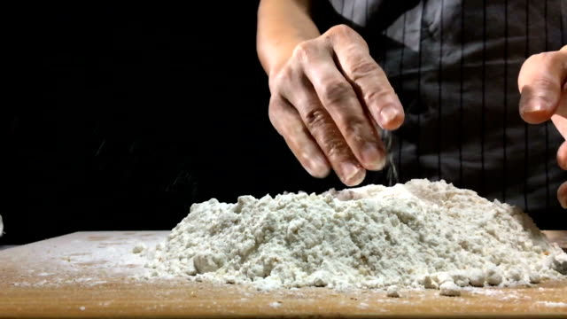 Kneading dough prepare for breafast  food video
