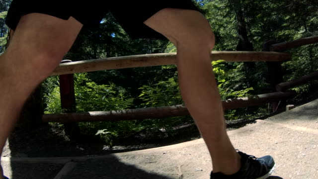 Knee and Legs Close Up Jogging in Nature Slow Motion Man running up Stairs on forest trail training for ultra marathon knee stock videos & royalty-free footage