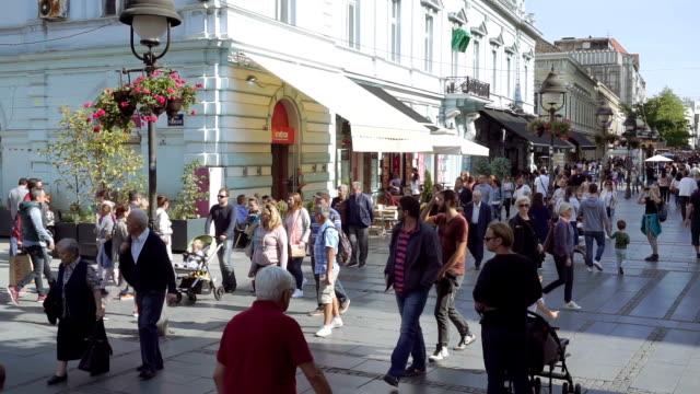 knez mihailova street, belgrade - serbia video stock e b–roll