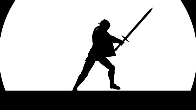 knight silhouette on a moon background on vector style zoom out - sword стоковые видео и кадры b-roll