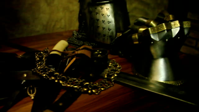 Knight's armour and weapons video