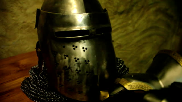 Knight's helmet and gloves Knight's helmet and gloves. Close up knight person stock videos & royalty-free footage