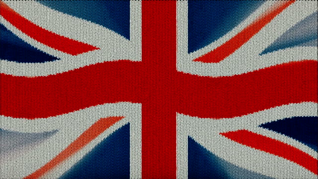 Knitted Britain flag sweater waving seamless loop new quality unique animated dynamic motion joyful colorful cool background video footage video