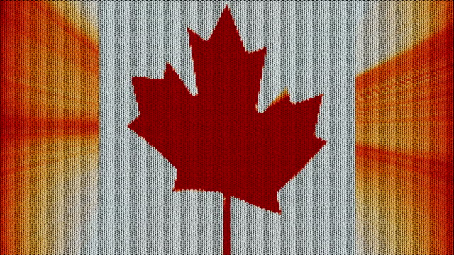 Knitted Canada flag waving dancing seamless loop with sun light rays new quality unique animated dynamic motion joyful colorful cool background video footage video