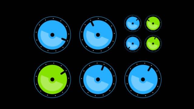 vidéos et rushes de boutons de tourner au hasard sur fond noir. animation abstraite - cadran