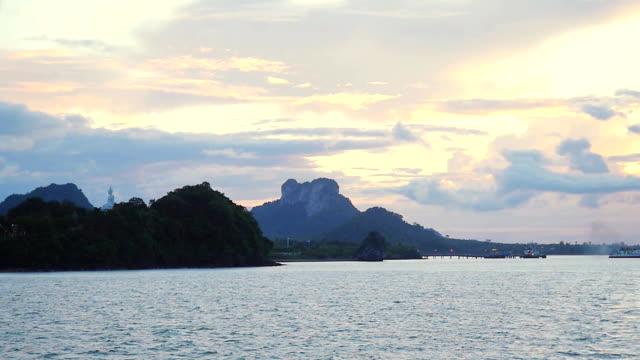 Ko samui, Thailand, very famous place for tourist, beautiful sunset view thai flag at international port. Slow motion, 1920x1080 video