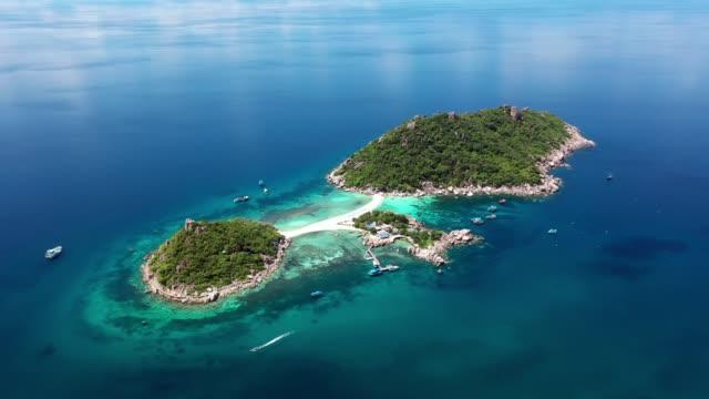 Koh Nang Yuan island, Aerial view beautiful top view, Koh Nangyuan, Surat Thani, Thailand.