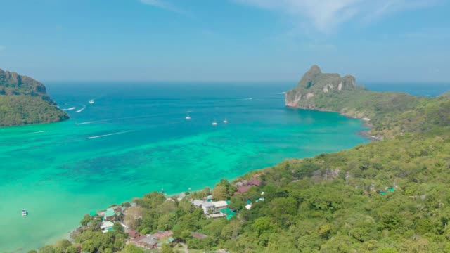 Koh Phi Phi Don - Aerial view of bay in andaman sea from View Point. Paradise coast of tropical island Phi-Phi Don. Krabi Province, Thailand. Travel vacation background.