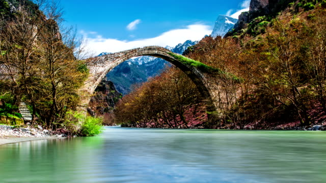 Konitsa bridge and Aoos River, Greece. video